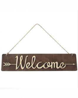 Ahşap Lazer Kesim Tabela – Welcome