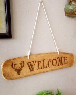 Ahşap Markalama Tabela – Welcome
